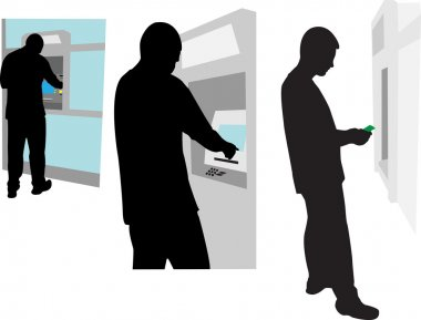 person at the ATM vector silhouette