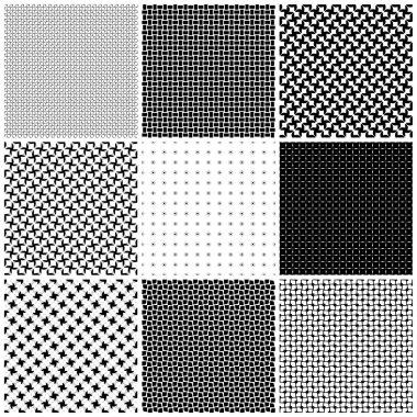 Set seamless black - white texture .