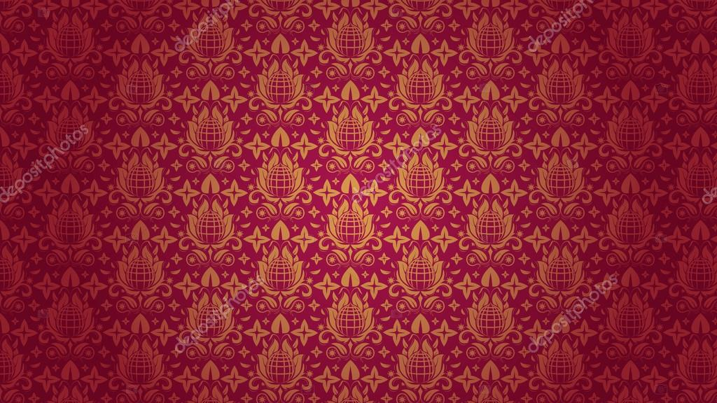 Bmages Wallpaper Hd Red Red Gold Seamless Floral Pattern