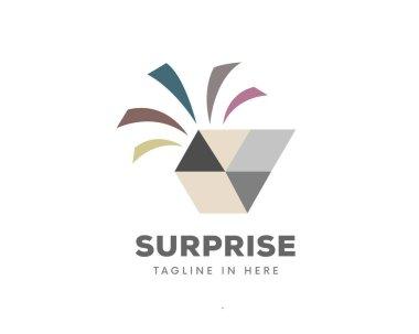 Box open surprise gift logo symbol design illustration icon