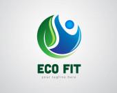 Vektorillustration. eco fit Logo Design