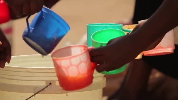 African drink being distributed for pupils in class