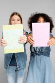 multikulturní školačky v denimových šatech s učebnicemi izolovanými na šedi