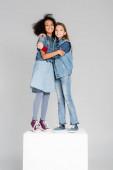 radostné multikulturní dívky v módních džínových šatech objímající bílou kostku izolovanou na šedé