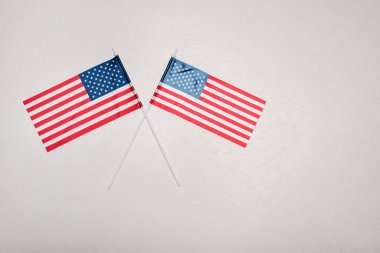 Top view of american flags on grey background stock vector