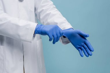 Cropped view of doctor wearing latex gloves isolated on blue stock vector
