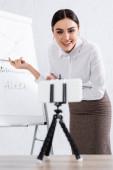 Lächelnde Geschäftsfrau mit Kopfhörer zeigt bei Videoanruf auf Flipchart neben verschwommenem Smartphone
