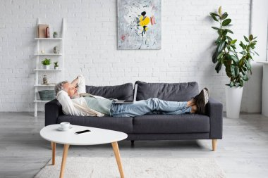 Cheerful bearded man looking at laptop while resting on couch stock vector