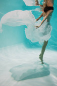 cropped view of young woman in white dress swimming in pool