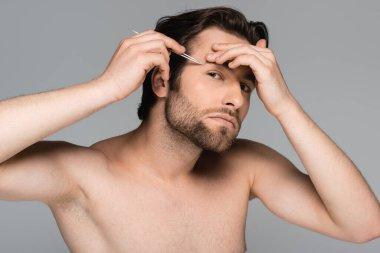 Young bearded and shirtless man tweezing eyebrow isolated on grey stock vector