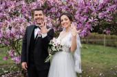 Usmívající se nevěsta a ženich ukazující prsteny poblíž stromů magnólie