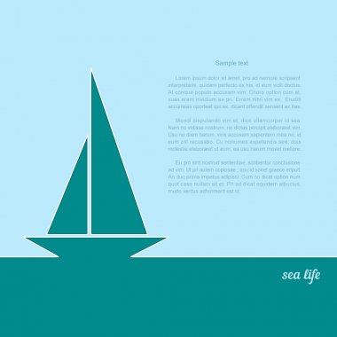 Icon sailboat on a blue background. A poster with the text of sea life. Vector illustration.