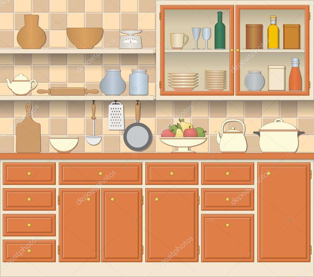 Innen- und Kochen Küchengeräte — Stockvektor © sanchesnet1@gmail.com ...