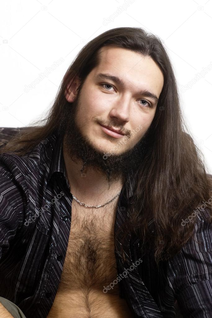 Pelo Largo Barba Hombres Retrato De Hombre Pelo Largo Barba - Hombre-pelo