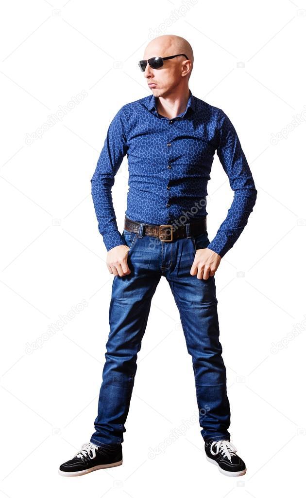Uomo Di Skinhead Stock Blue Sole — In Occhiali E Foto Jeans Da lTJKc351uF