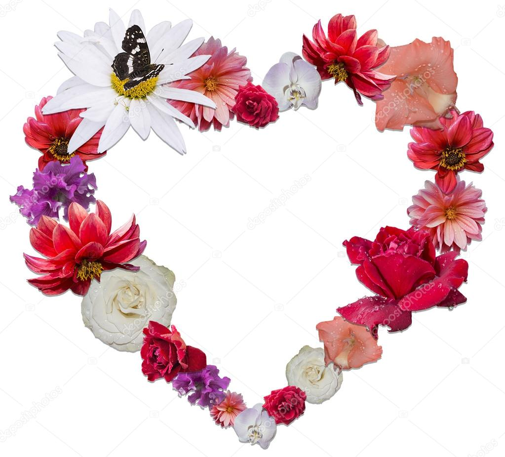 Beautiful heart made of different flowers as a symbol of love beautiful heart made of different flowers as a symbol of love on white background photo by ekaterina0290 izmirmasajfo