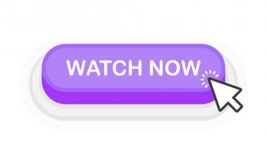 Watch Now purple 3D button in flat style isolated on white background. Vector illustration icon
