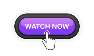 Watch Now purple realistic 3D button isolated on white background. Hand clicked. Vector illustration icon