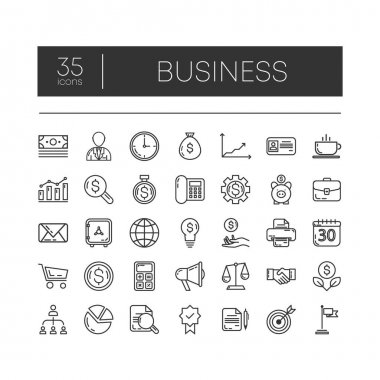 Set of 35 line icons of business for modern concepts, web and apps on white background. Vector illustration. icon