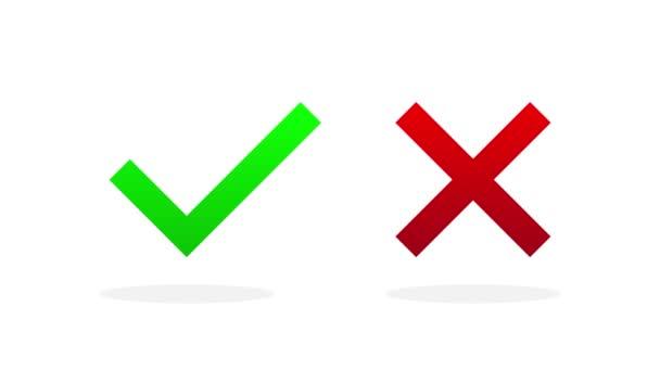 Zeichen kreuzen und kreuzen. Grünes Häkchen OK und rotes KEIN Symbol unterschiedlichen Designs auf weißem Hintergrund. Einfache Marken Grafik-Design. Bewegungsgrafik.