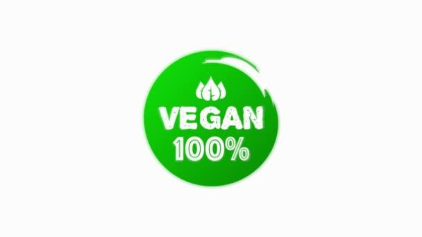 Vegan 100 Friss egészséges bio vegán étel lineáris grunge logó címkék és címkék a különböző design és zöld színű. Kézzel rajzolt tárgyak. Mozgókép.