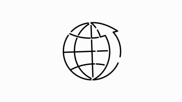 Ikona osnovy související s globem na bílém pozadí. Tenká čára pohybu ikony pro design a vývoj webových stránek, vývoj aplikací. Pohybová grafika.
