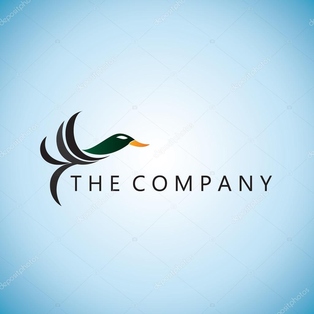 鴨ロゴのアイデア デザイン ベクトル イラスト背景 — ストックベクター