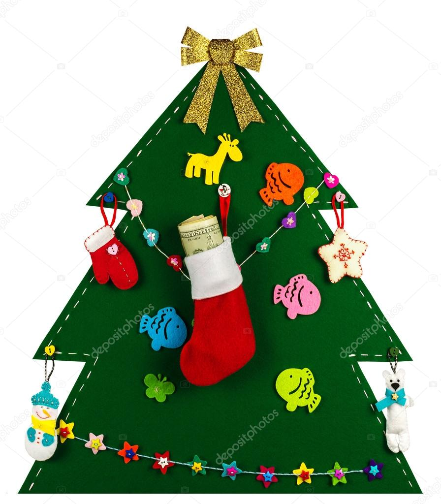 Christmas Tree Toys Handmade.Christmas Tree With Handmade Toys Stocking Full Of Dollars