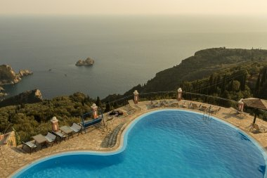 Beautiful Ionian sea view from a top club and swimming pool.