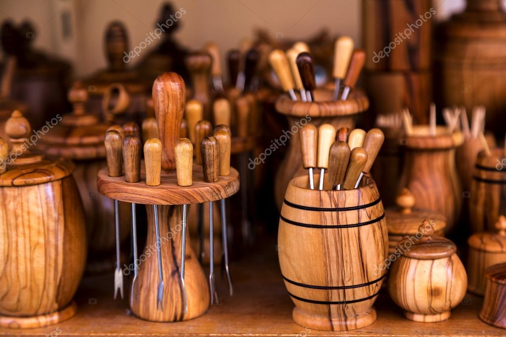 hand made olive wood kitchen accessories stock photo rh depositphotos com