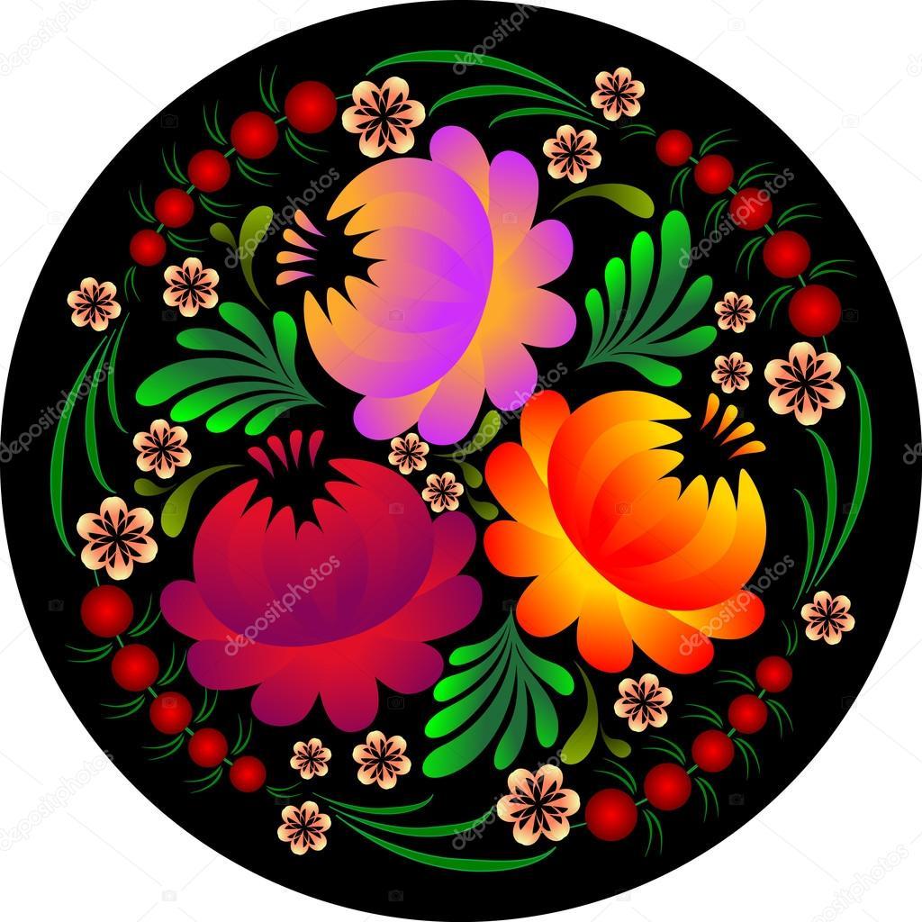 flower pattern in petrikovsky style