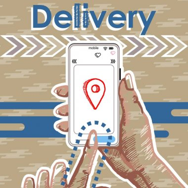 Hands are holding the phone. Truck with boxes, gifts. Delivery service concept, online order tracking. icon