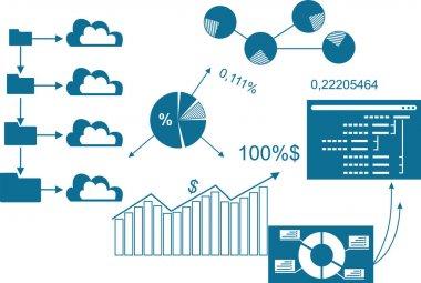 Enterprise development infographics. Infographic elements - bar and line charts, percentages, pie charts, steps, options, timeline icon