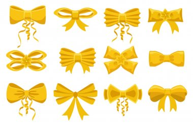 Gold bow. Cartoon yellow ribbons satin bows set for xmas gifts, present cards, presentations and luxury wrap pack isolated on white background. icon