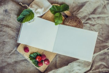 Cookbook framed Breakfast of berries with a bun