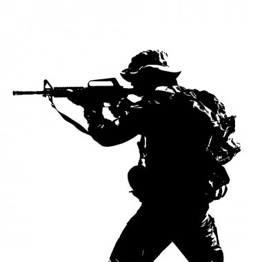 Black silhouette of a sniper scope with a machine gun in a backpack with clothes and a hat stock vector
