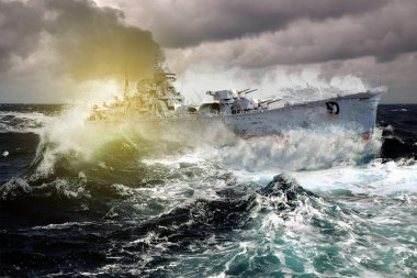 Warship sailing in a stormy sea