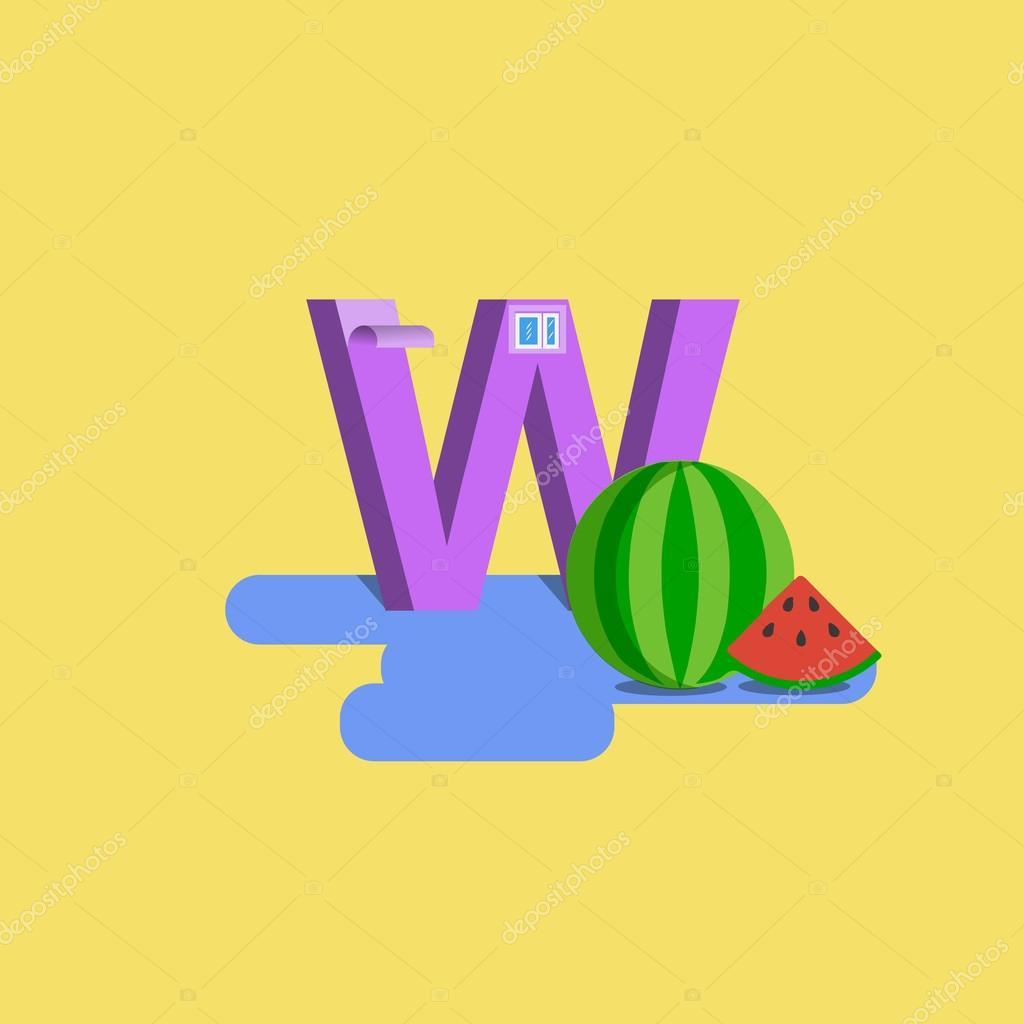 The letter of the alphabet - W. Waterlemon, wallpaper, wall, window ...