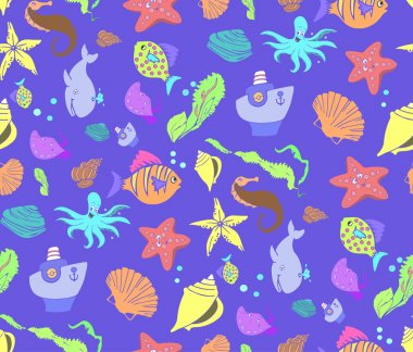 Undersea world. Seamless pattern