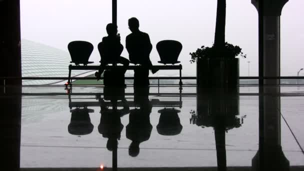 Silhouettes of two passengers