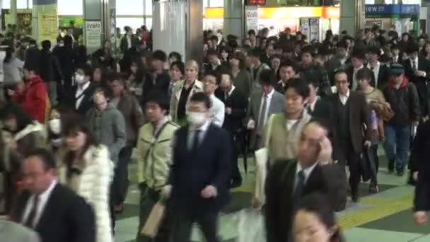 Rush hour at Shinagawa train station in Tokyo.