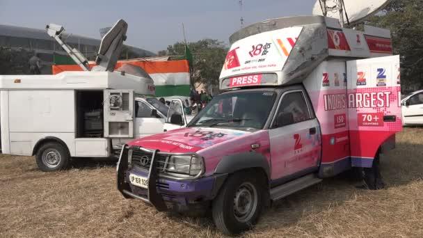 Broadcast trucks in Kolkata