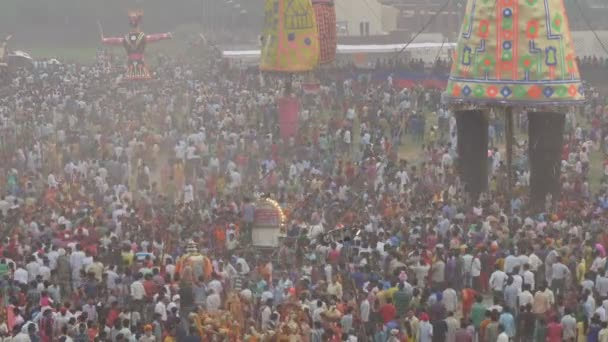 People celebrate the end of Dussehra