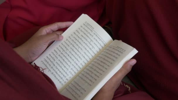 A monk reads through a Tibetan book