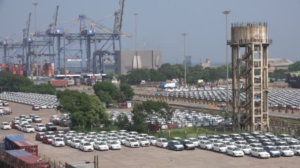Hyundai cars are parked for shipment overseas