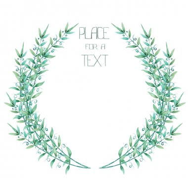 A wreath (circle frame) with the green floral branches, hand-drawn in a watercolor on a white background, place for a text stock vector