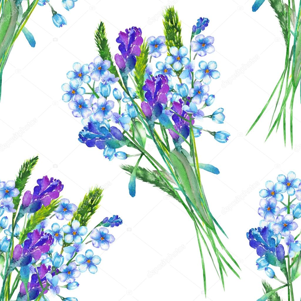 A seamless pattern with the bouquets of blue forget-me-not flowers (Myosotis) and lavender, painted in a watercolor on a white background