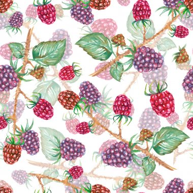 A seamless pattern with the watercolor blackberry branches