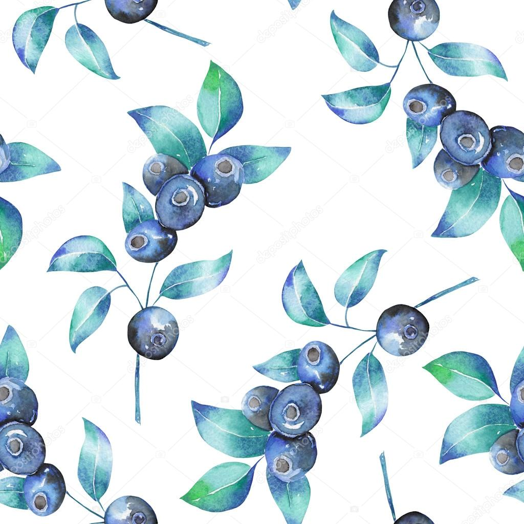 A seamless pattern with the watercolor blueberry branches