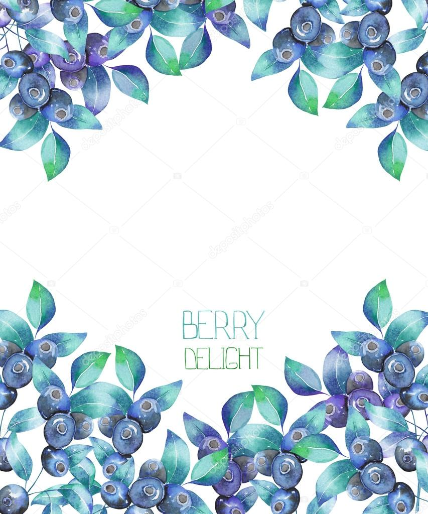 A template of a postcard, background for a text with the watercolor blueberry branches